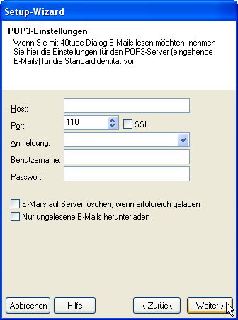 Setup-Wizard: POP3-Einstellungen