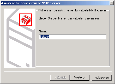 Virtual NNTP server assistant - server name
