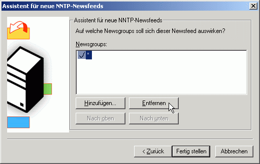Assistent fo new NNTP-Newsfeeds - remove *