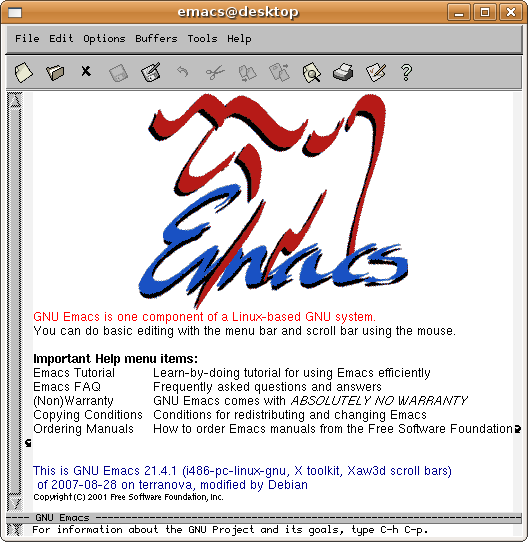 emacs start window