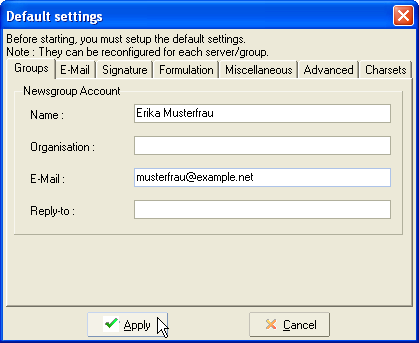 Default settings - Groups