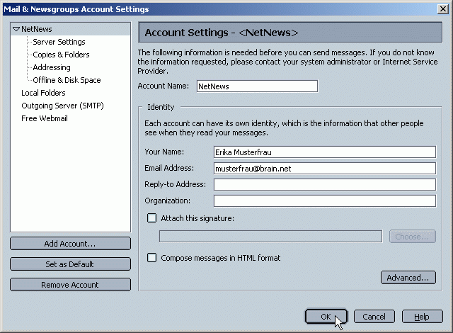 Mail & Newsgroup Settings