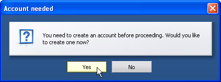 Create account? - Yes