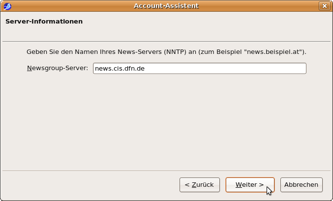 Account-Assistent: Server-Information