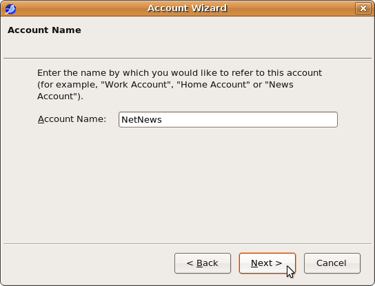 Account wizard: Account Name