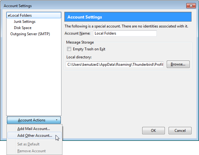 Account Settings - Add Account