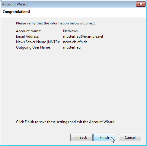 Account wizard: Final dialog
