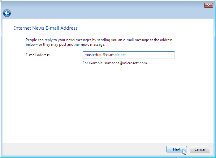 Wizard: Internet News E-mail Address